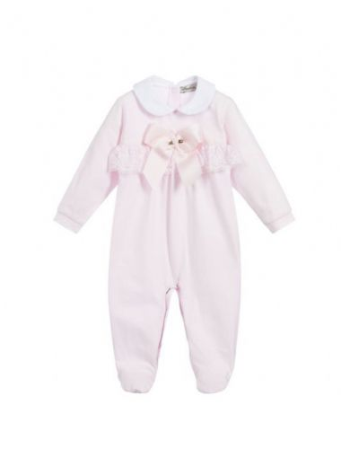 Piccola Speranza Baby Grow With Ribbon And Lace